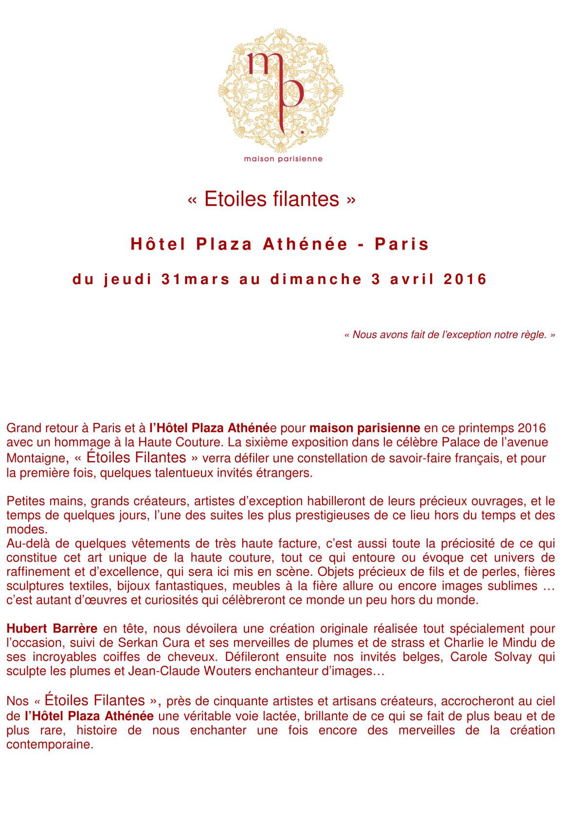 Ludovic AVENEL : ébéniste créateur Paris - Communiqué Etoiles Filantes Plaza Athénée