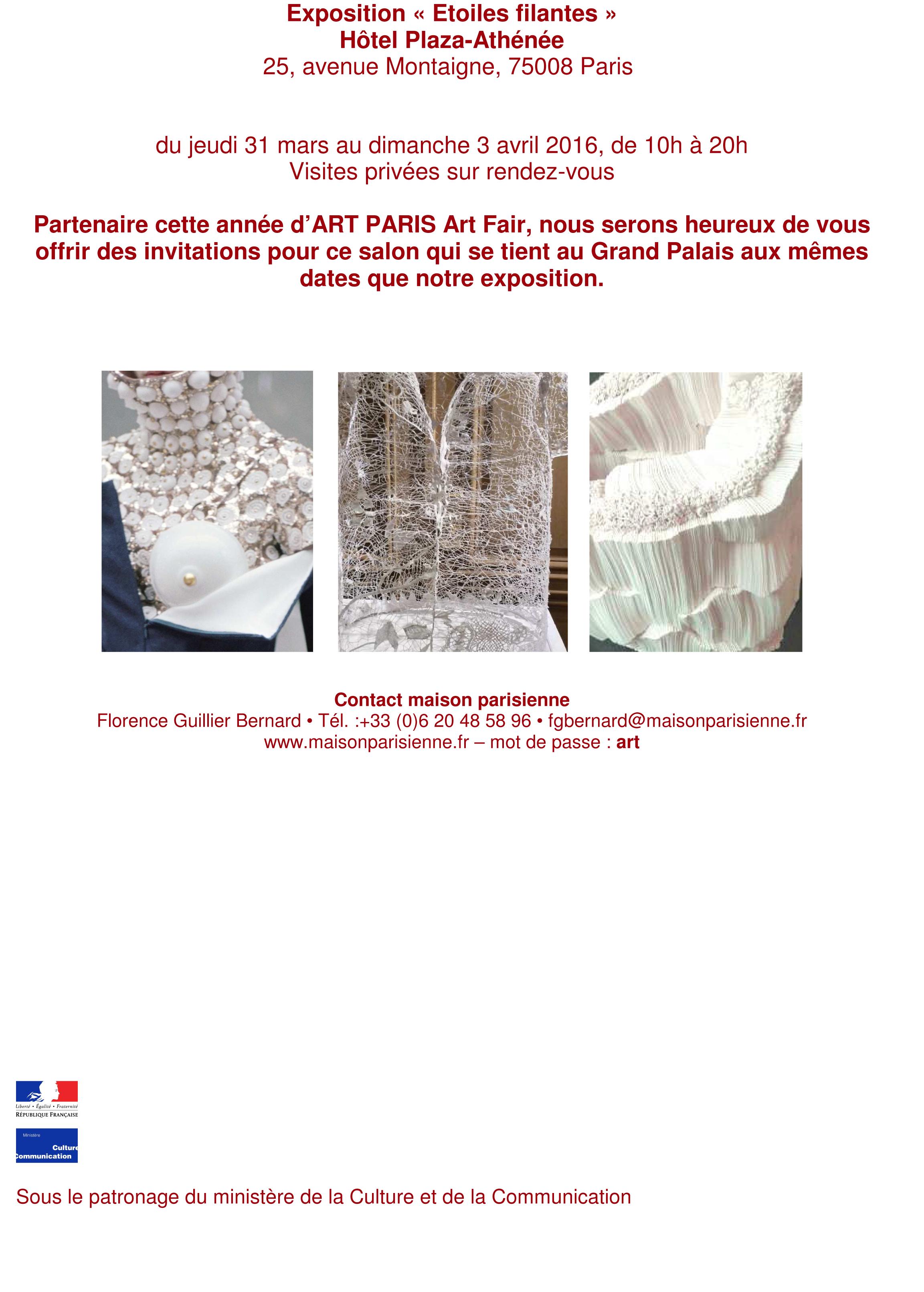 Ludovic AVENEL : ébéniste créateur - Communiqué Etoiles Filantes Plaza Athénée