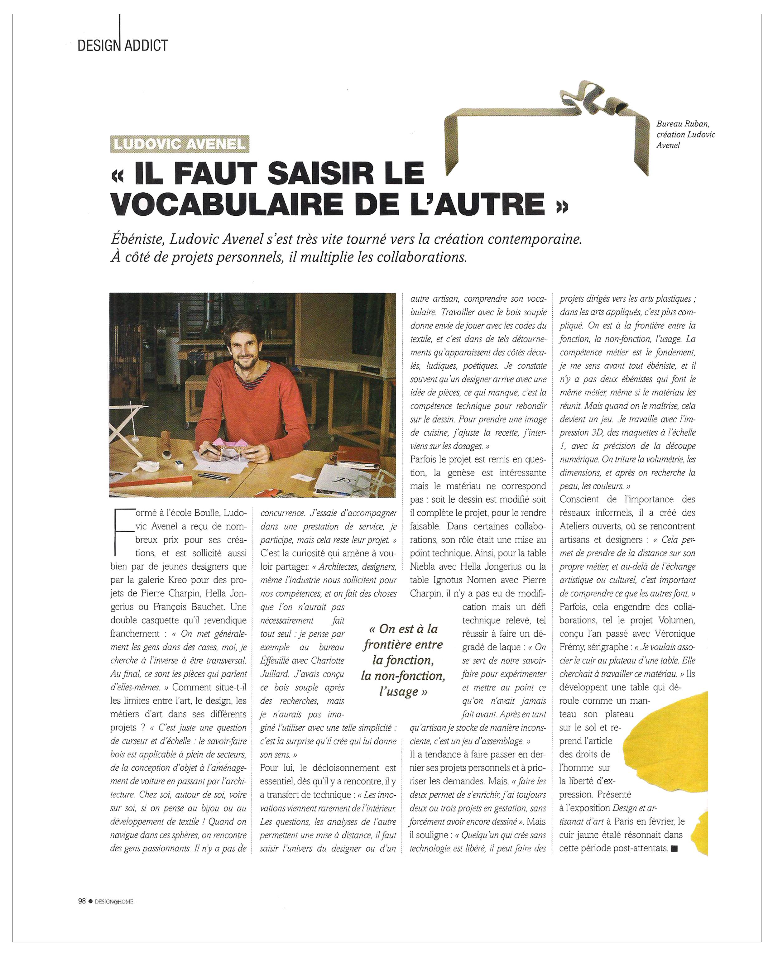 Ludovic AVENEL : ébéniste créateur Paris - Ludovic_Avenel_press_Design_Home_ebeniste_créateur_design_sur mesure_4