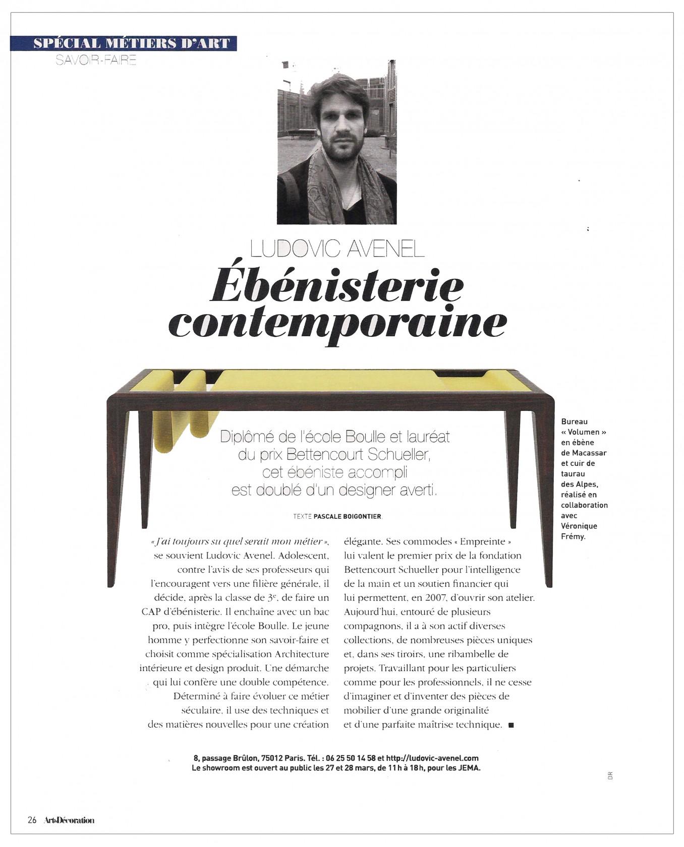 Ludovic AVENEL : ébéniste créateur - Ludovic_Avenel_press_art_&_décoration_ebeniste_créateur_design_sur mesure_3