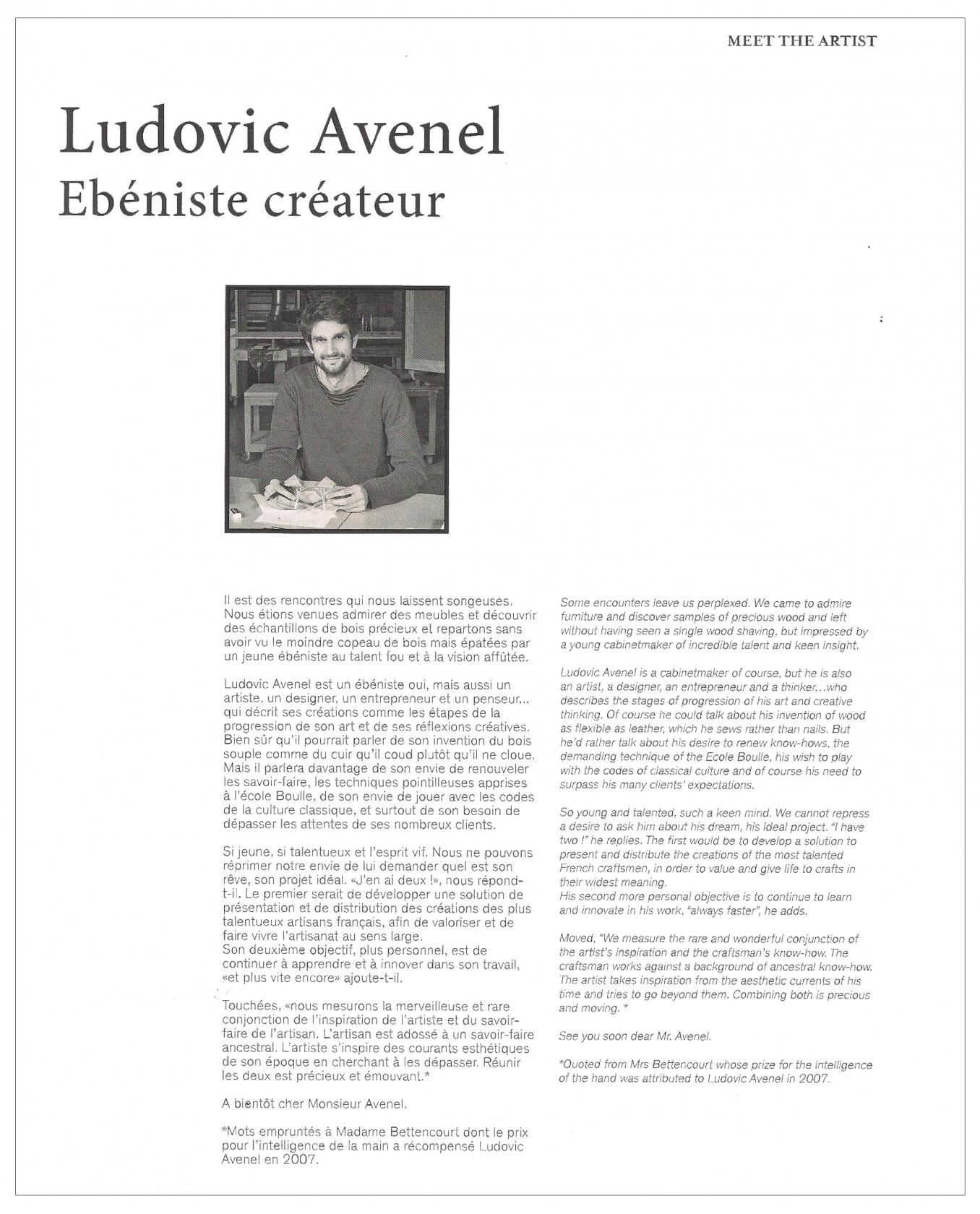 Ludovic AVENEL : ébéniste créateur Paris - Ludovic_Avenel_press_l'aventure_créateur_design_sur mesure_2