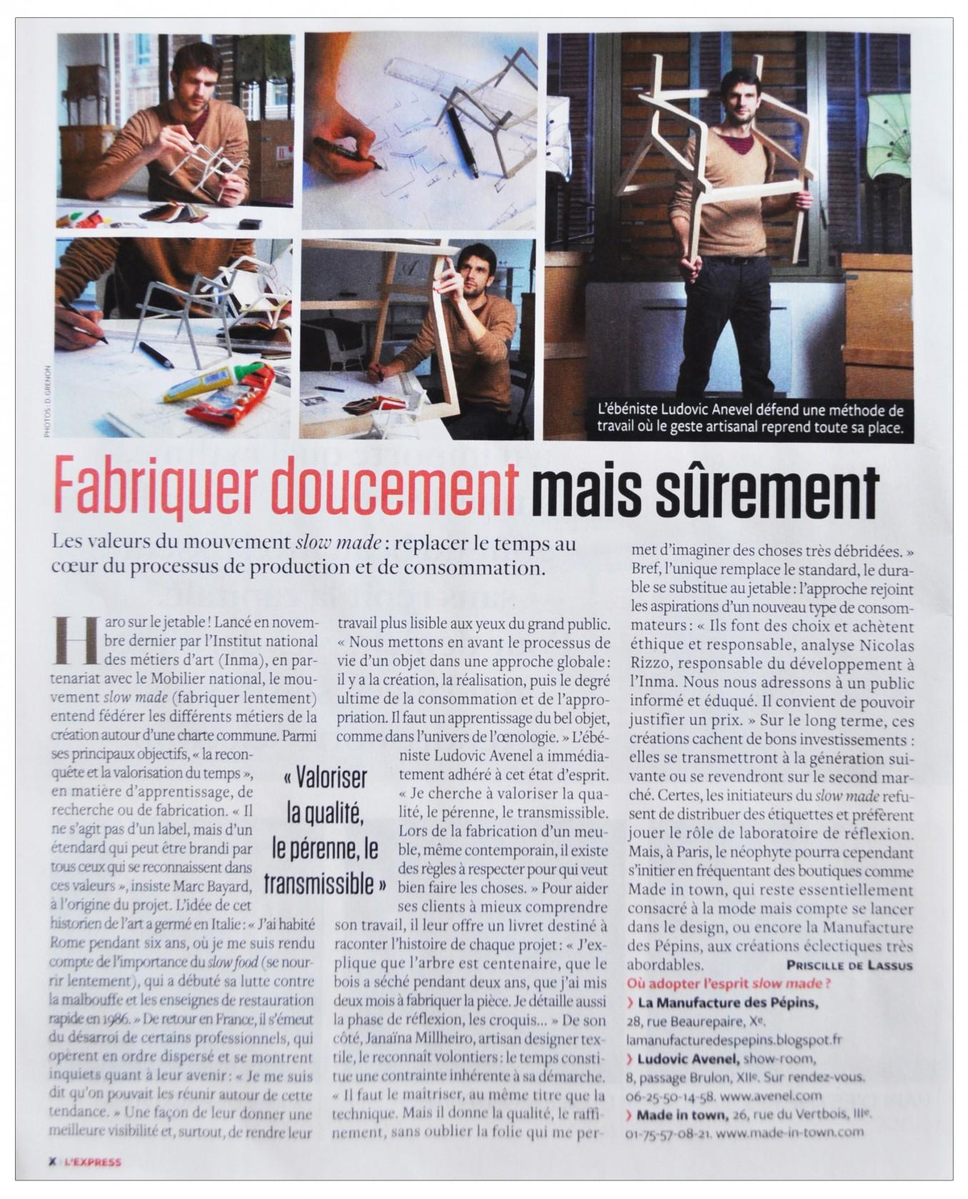 Ludovic AVENEL : ébéniste créateur Paris - Ludovic_Avenel_press_l'express_ebeniste_créateur_design_sur mesure_1