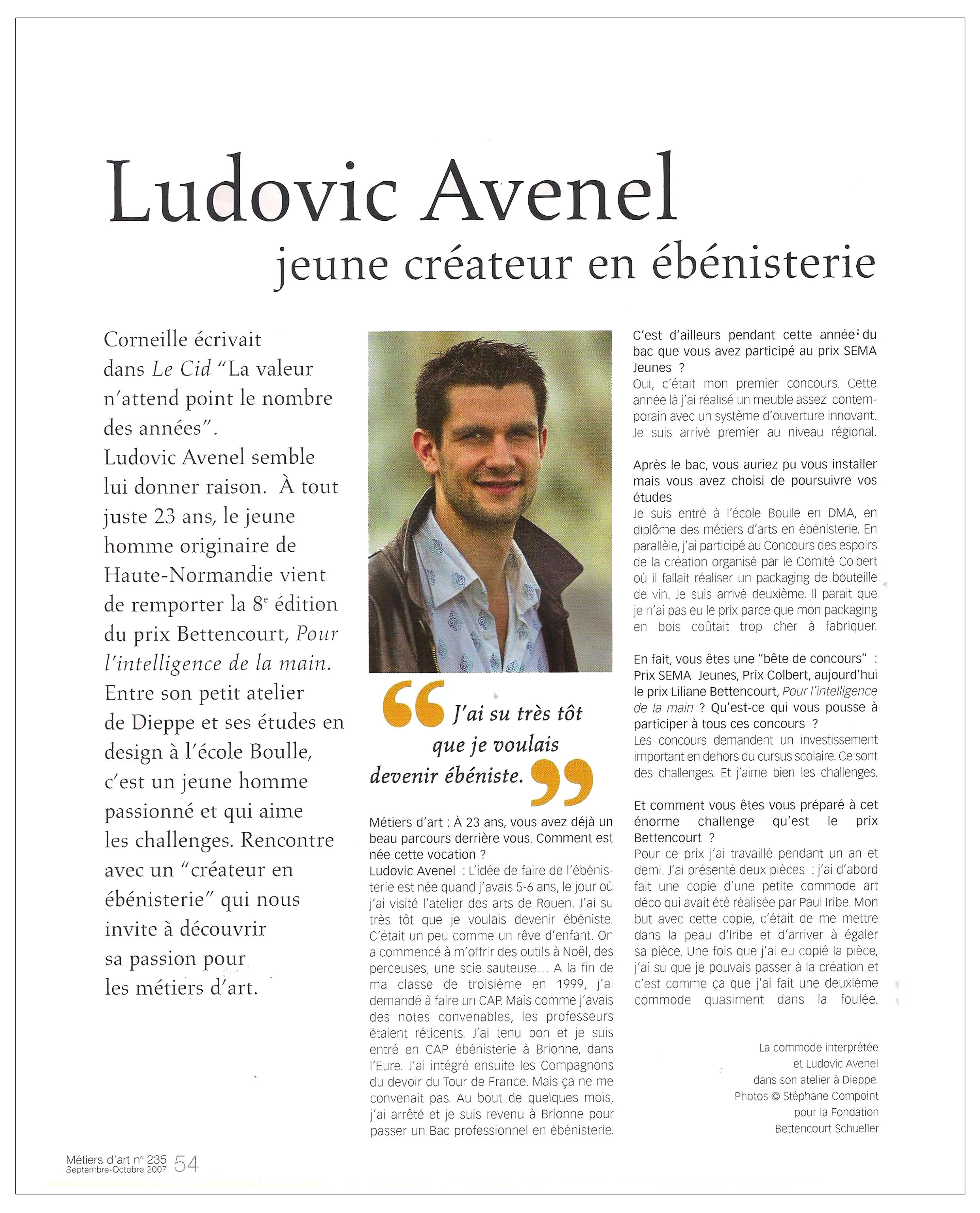 Ludovic AVENEL : ébéniste créateur Paris - Ludovic_Avenel_press_métiers d'art_ebeniste_créateur_design_sur mesure_2