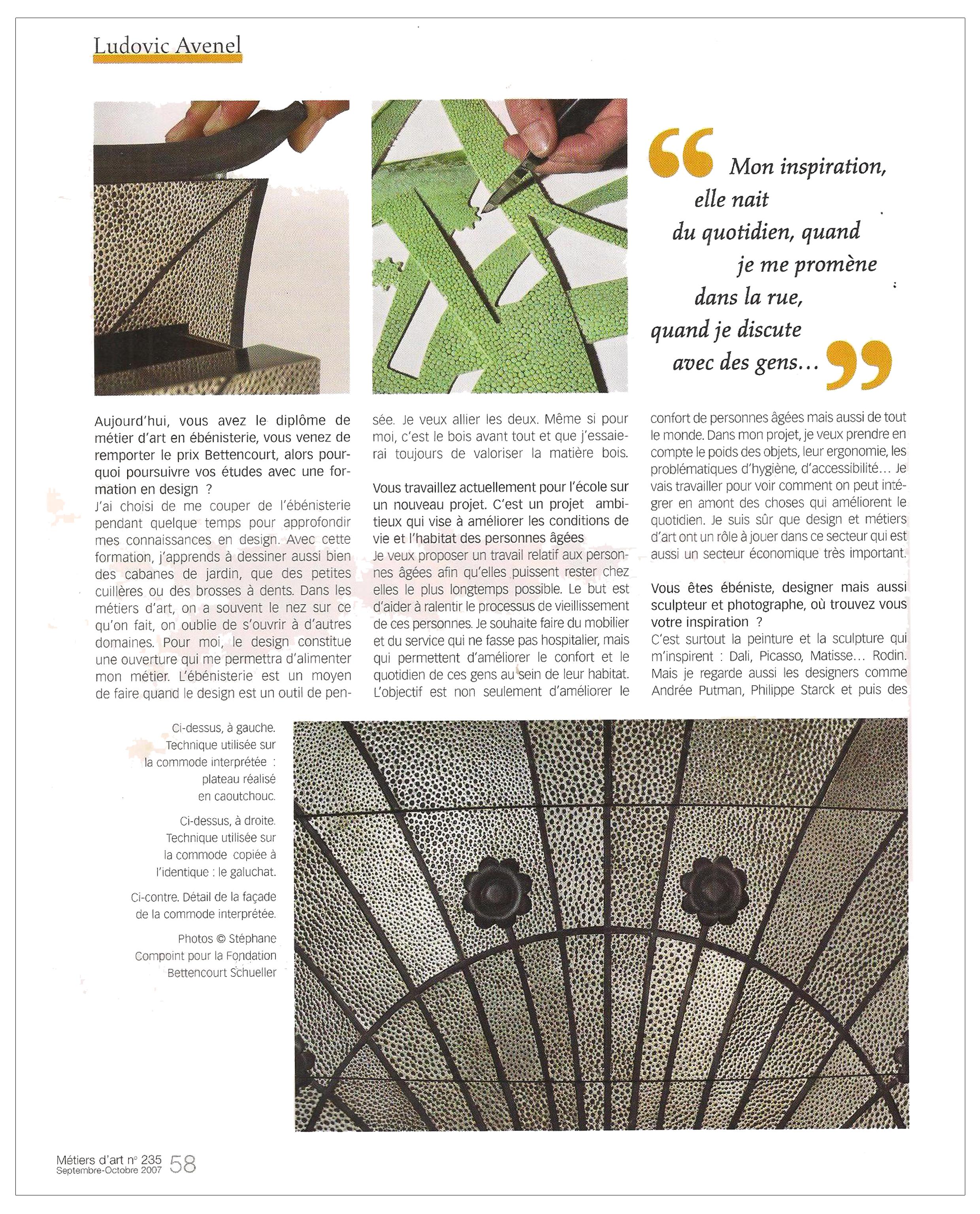Ludovic AVENEL : ébéniste créateur Paris - Ludovic_Avenel_press_métiers d'art_ebeniste_créateur_design_sur mesure_6