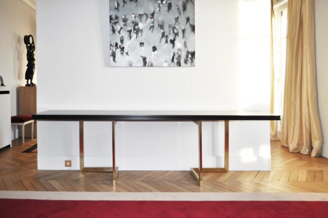 Ludovic AVENEL : ébéniste créateur Paris -  Ludovic Avenel_table console_chêne des marais_laiton (1)