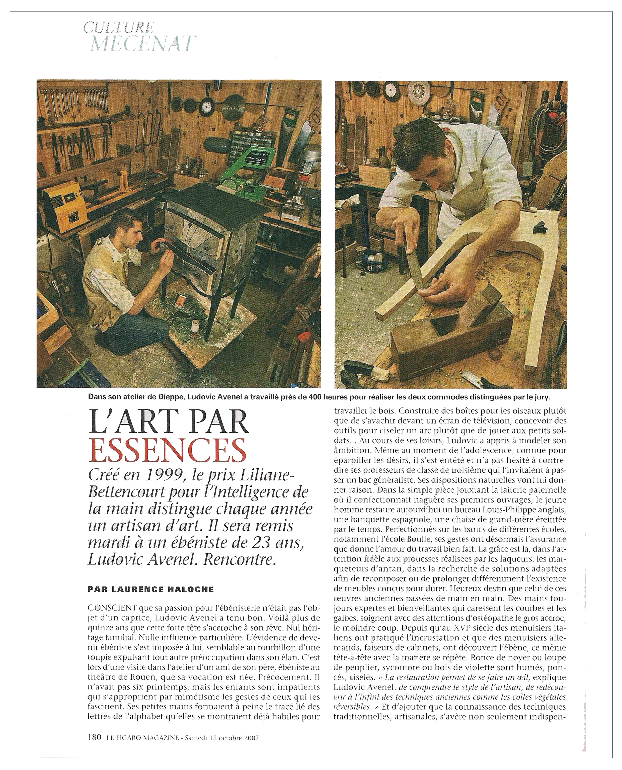Ludovic AVENEL cabinet maker Paris - Ludovic_Avenel_press_le figaro_ebeniste_créateur_design_sur mesure_3
