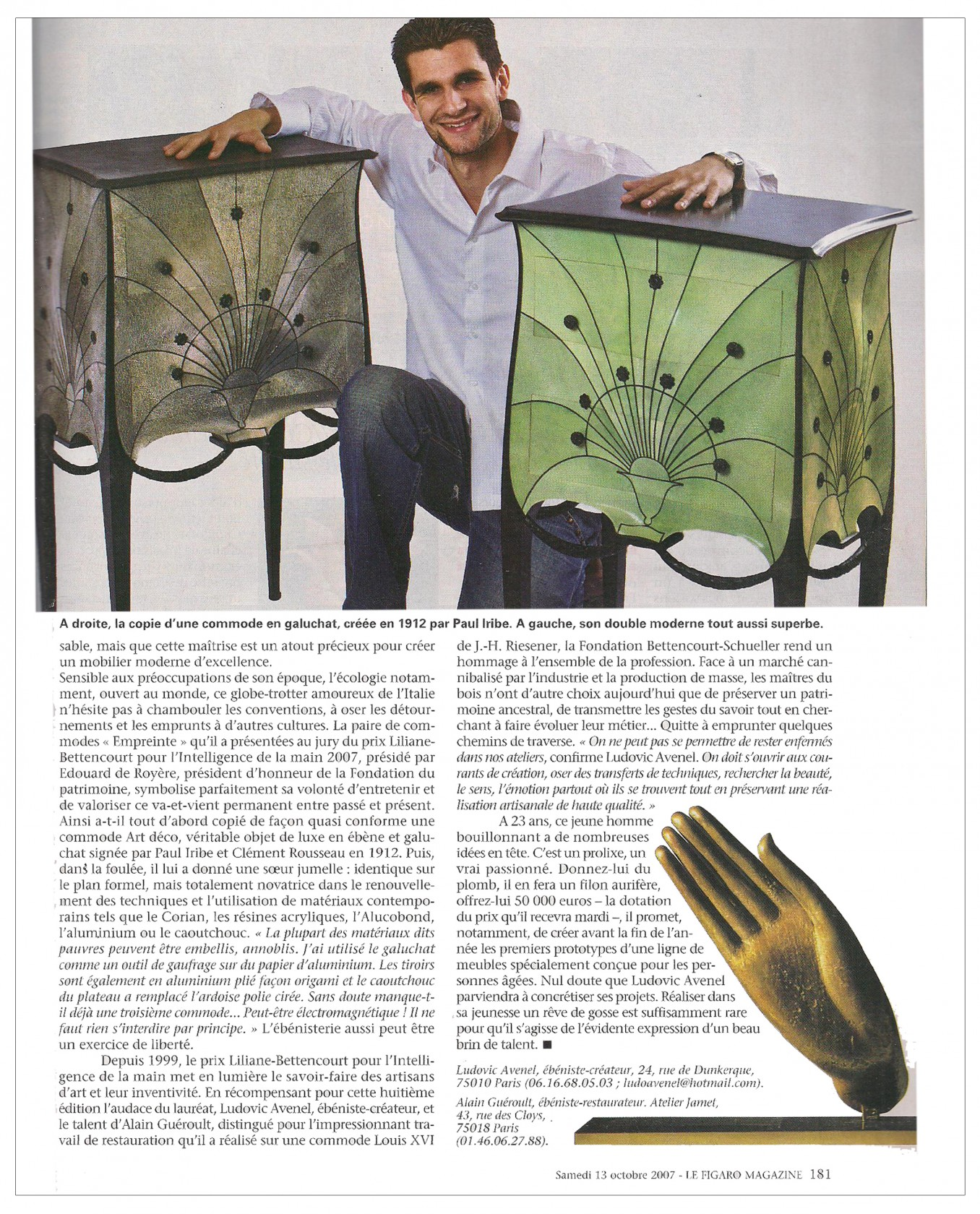 Ludovic AVENEL cabinet maker Paris - Ludovic_Avenel_press_le figaro_ebeniste_créateur_design_sur mesure_4