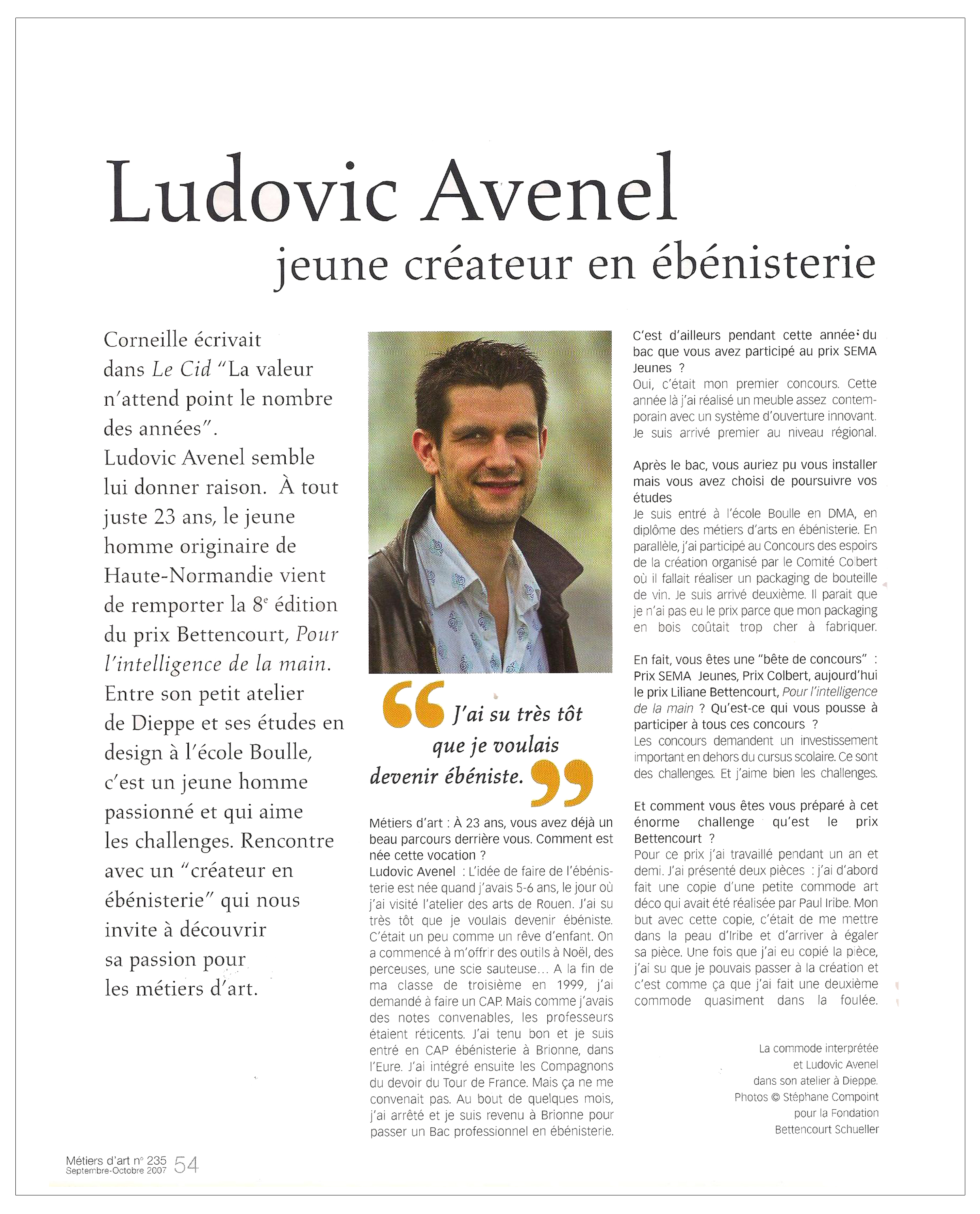 Ludovic AVENEL cabinet maker Paris - Ludovic_Avenel_press_métiers d'art_ebeniste_créateur_design_sur mesure_2
