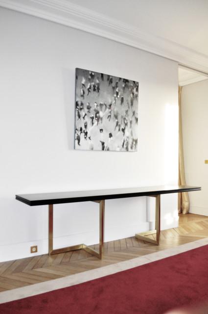 Ludovic AVENEL - Ebéniste Paris - Fabrication de meubles sur mesure -  Ludovic Avenel_table console_chêne des marais_laiton (2)