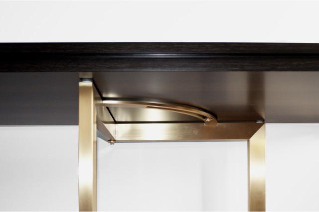 Ludovic AVENEL - Ebéniste Paris - Fabrication de meubles sur mesure -  Ludovic Avenel_table console_chêne des marais_laiton (5)